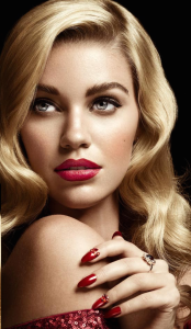 Classic red Lip and flick. Photo credit Catherine Harbour Hair and Make-up Victoria Bond @ Caren Agency.